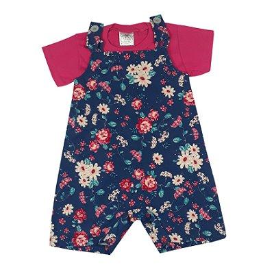 Jardineira Bebê Floral + Básica Pink
