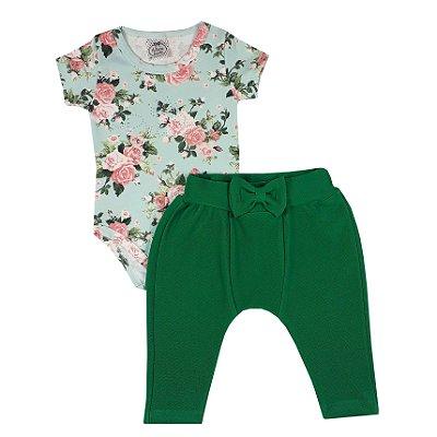 Conjunto Bebê Body Rosas + Calça Saruel Verde