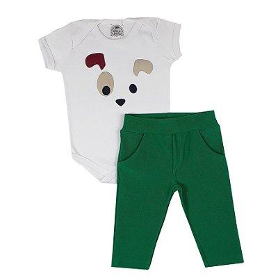 Conjunto Bebê Body Dog + Calça Verde