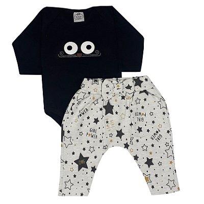 Conjunto Bebê Body Olhos + Calça Saruel Estrela