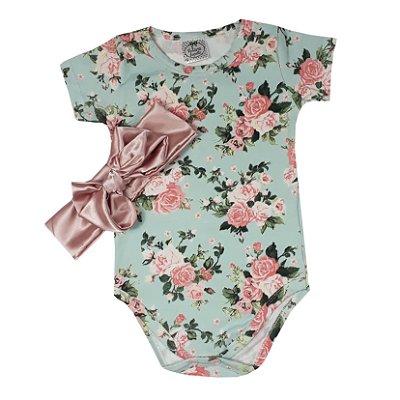 Body Bebê Rosas + Turbante