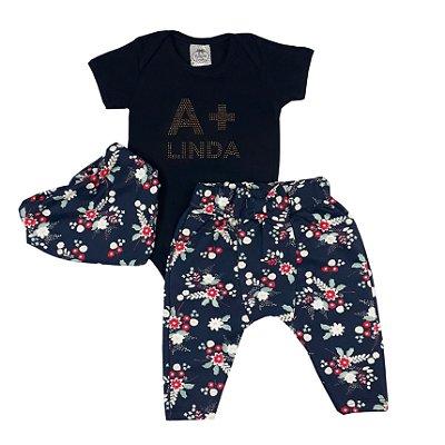 Conjunto Bebê A + Linda Azul Marinho Com Calça E Turbante Floral