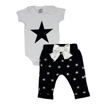 Conjunto Bebê Body Estrela + Calça Estrela Com Laço
