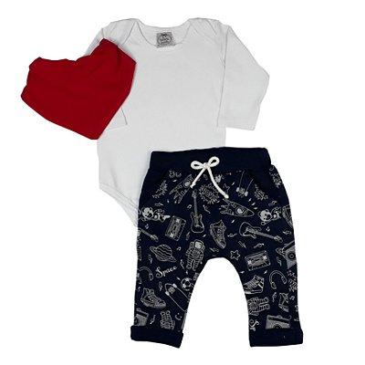 Conjunto Bebê Body Branco + Calça Universo + Bandana
