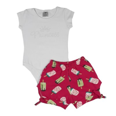 Conjunto Infantil Body Princess + Shorts Picolé