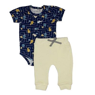Conjunto Bebê Body Fantasma + Calça Amarela