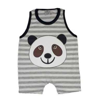 Macacão Bebê Listrado Panda