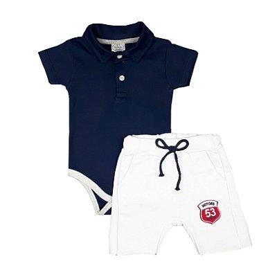 Conjunto Bebê Body Polo Marinho + Bermuda Saruel Branca