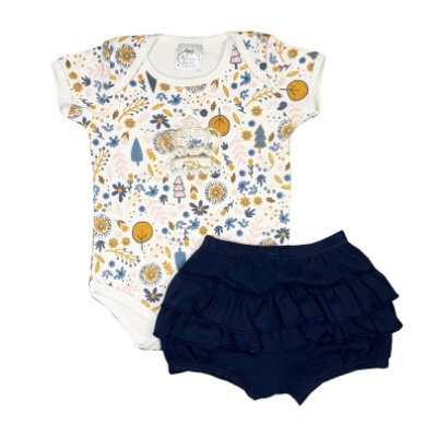 Conjunto Bebê Body Flores + Shorts Babados