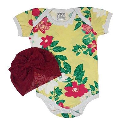 Body Bebê Flores + Turbante Renda