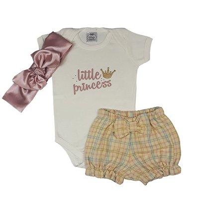 Conjunto Bebê Little Princess + Shorts Flanela + Turbante Cetim