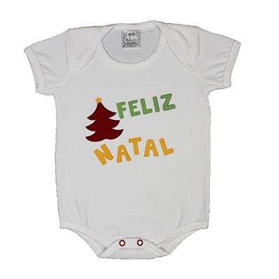 Body Bebê Feliz Natal Branco