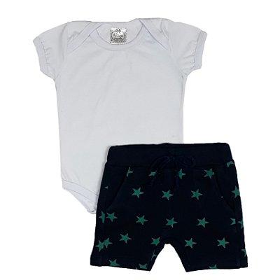 Conjunto Bebê Body Branco + Bermuda Saruel Estrelas