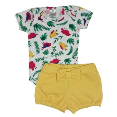 Conjunto Bebê Tropical Amarelo