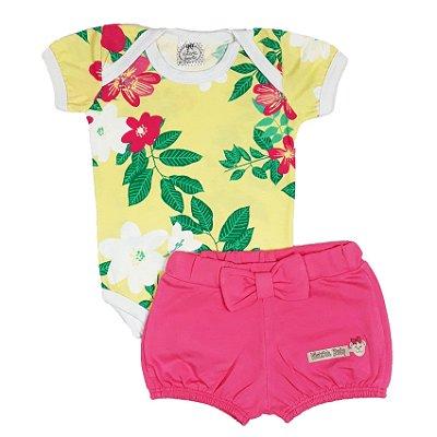 Conjunto Bebê Body Flores Amarelo + Shorts Rosa
