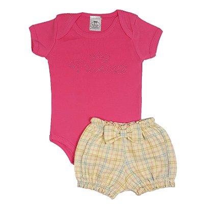 Conjunto Bebê Princess Rosa + Shorts Xadrez