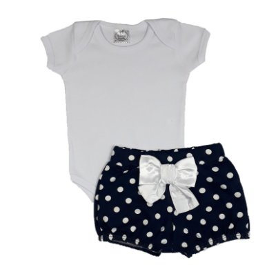 Conjunto Bebê Body Branco + Shorts Bola Azul Marinho