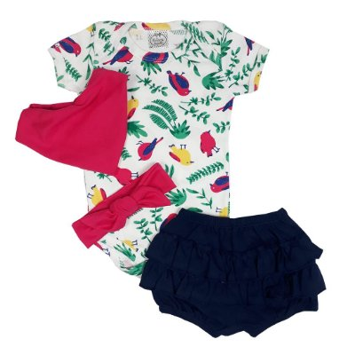 Kit Bebê Body Tropical + Shorts Babados + Turbante + Bandana