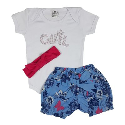 Conjunto Bebê Body Girl + Shorts Floral + Turbante