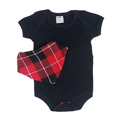 Body Bebê Preto + Bandana Xadrez