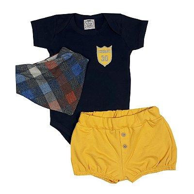 Conjunto Bebê Body Azul Marinho + Shorts Amarelo + Bandana Xadrez