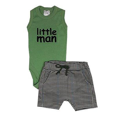 Conjunto Bebê Regata Little Man + Bermuda Xadrez