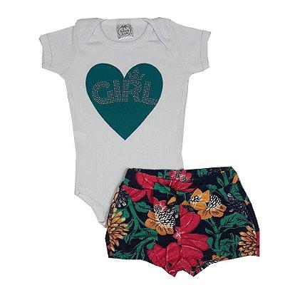 Conjunto Bebê Coração Girl Floral