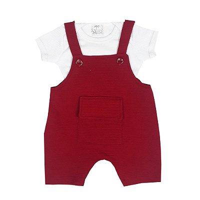Jardineira Bebê Vermelha + Body Branco