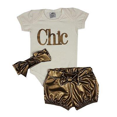 Conjunto Bebê Chic Bege Com Dourado