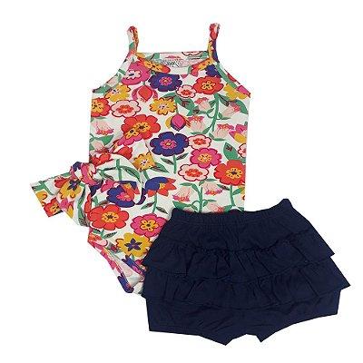 Conjunto Bebê Body Floral + Shorts Babados + Turbante Floral