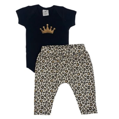 Conjunto Bebê Body Coroa + Calça Saruel Onça