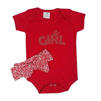 Body Bebê Girl Vermelho + Turbante Flores