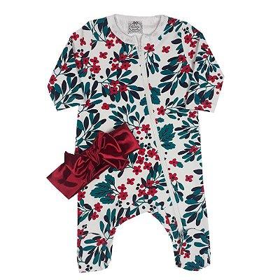 Macacão Bebê Floral Com Zíper + Turbante Vermelho Cetim