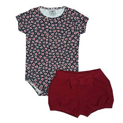 Conjunto Bebê Body Coração + Shorts Vermelho