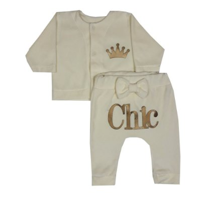 Conjunto Bebê Casaco E Calça Chic De Plush