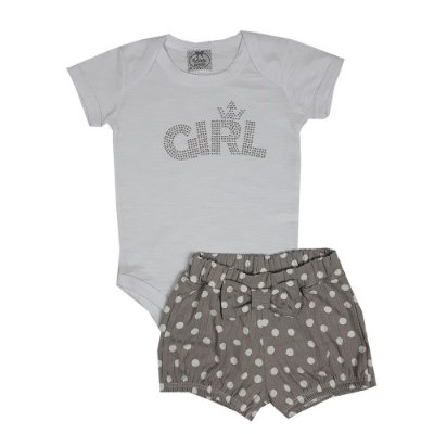 Conjunto Bebê Body Girl + Shorts Bola