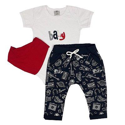 Conjunto Bebê Body Baby + Calça Saruel Universo + Bandana Vermelha