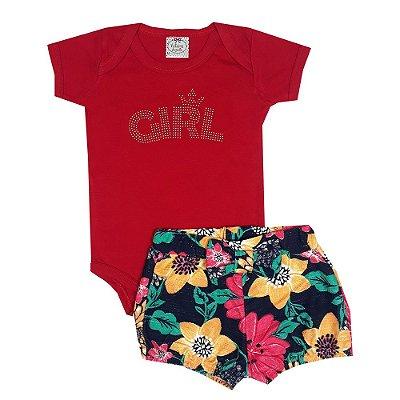 Conjunto Bebê Body Girl Vermelho + Shorts Floral