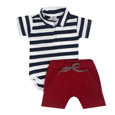Conjunto Bebê Body Polo Listras + Bermuda Saruel Vermelha