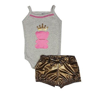 Conjunto Bebê Regata Urso + Shorts Dourado