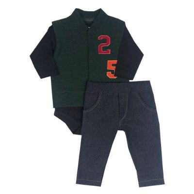 Conjunto Bebê Colete 25 +Body Preto + Calça Jeans