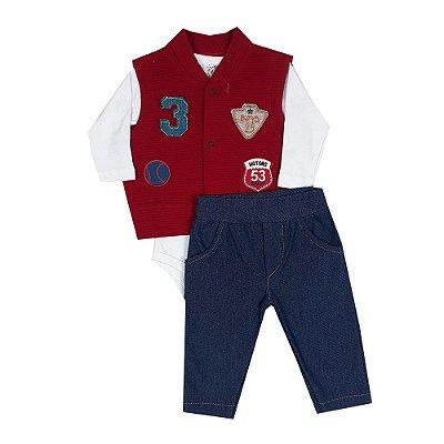Conjunto Bebê Colete 3 + Body Branco + Calça Jeans