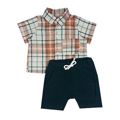 Conjunto Bebê Camisa Tecido Xadrez + Bermuda Saruel