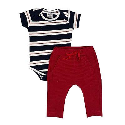 Conjunto Bebê Body Listras + Calça Saruel Vermelha