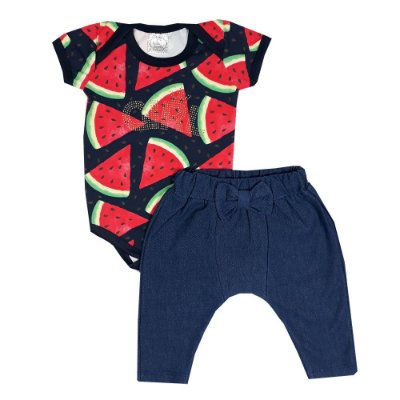 Conjunto Bebê Body Melancia + Calça Saruel Jeans