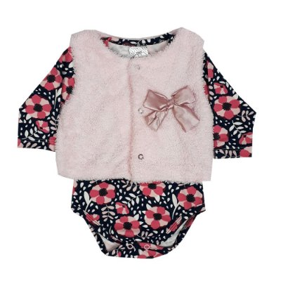Conjunto Bebê Colete + Body Floral