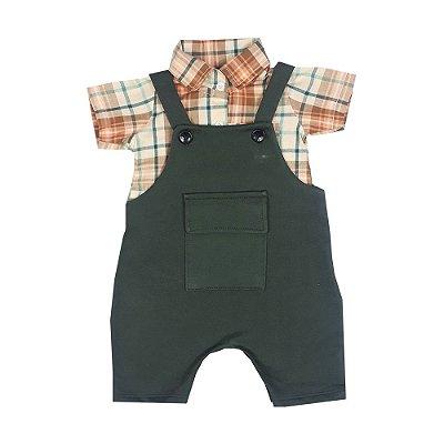 Jardineira Bebê + Camisa Tecido
