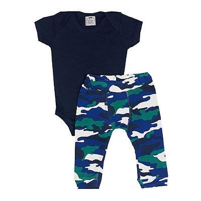 Conjunto Bebê Body Azul Marinho + Calça Saruel Camuflada