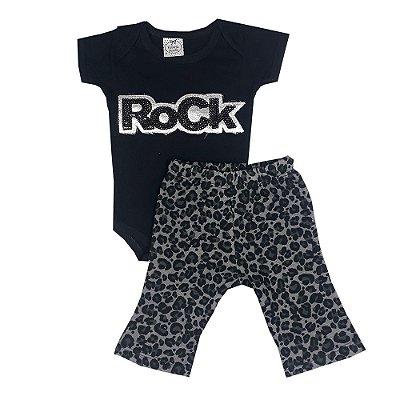 Conjunto Bebê Rock + Calça Flare Onça