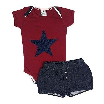 Conjunto Bebê Body Estrela + Shorts Jeans